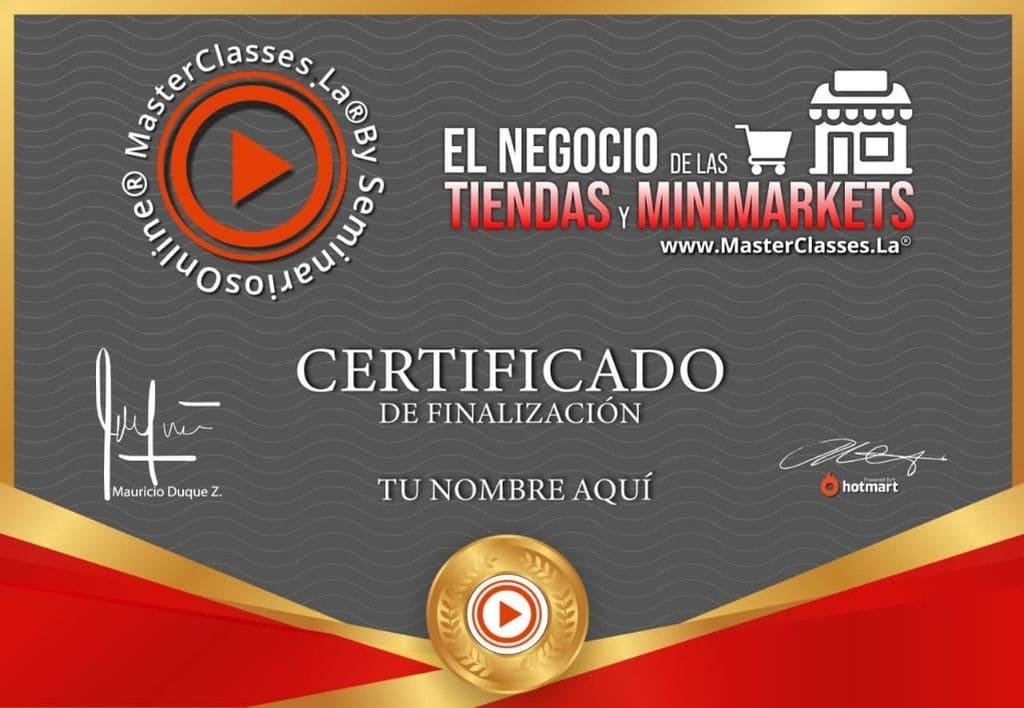 CERTIFICADO EL NEGOCIO DE LAS TIENDAS Y MINIMARKETS